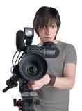 Cameraman. Cameraman, isolated on white background royalty free stock photo