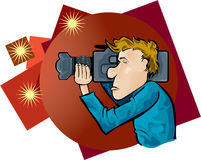Cameraman. Shooting with spotlights in background Royalty Free Stock Photography
