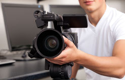 Cameraman. The television operator on a working platform Stock Image