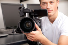 Cameraman. The television operator on a working platform Royalty Free Stock Image