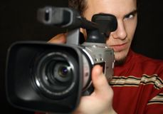 Cameraman. Recording with dv camera Stock Images