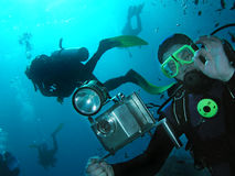 Cameraman. And divers, Red sea Royalty Free Stock Photos