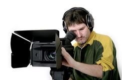 Cameraman. Work at stand high definition camcorder stock images