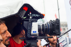 Cameraman in actie Stock Fotografie