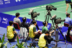 Cameraman in action Stock Images
