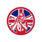 Cameraman británico Union Jack Flag Icon Fotografía de archivo libre de regalías