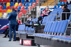 Cameraman and broadcast TV camera stock image