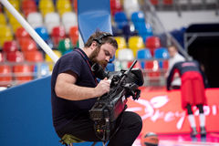 Cameraman and broadcast TV camera Stock Photos