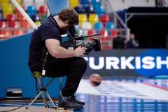 Cameraman and broadcast TV camera stock images