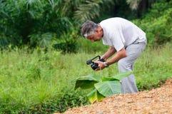 Cameraman with camcoder Stock Photography