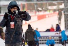 Cameraman on curling tournament Royalty Free Stock Photos