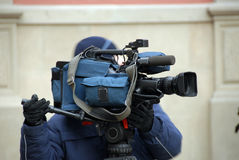 Cameraman dans l'action Photos stock