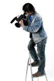 Cameraman de trabajo aislado Imagen de archivo libre de regalías