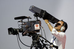 Cameraman de TV Photos stock