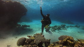 Cameraman diver swimming on sandy bottom deep underwater in Red sea. stock video footage