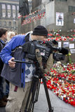 A cameraman documenting tribute to Vaclav Havel Stock Image