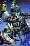Cameraman en la acción Imagen de archivo libre de regalías