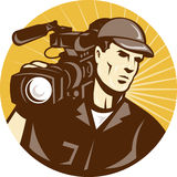 Cameraman Film Crew Pro Video Movie Camera Stock Image