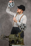 Cameraman with  a film projection Stock Photography
