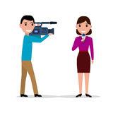 Cameraman filmed woman journalist with microphone Royalty Free Stock Photos