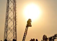 Cameraman filming on a crane Royalty Free Stock Photos