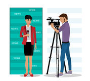 Cameraman filming a reporter. Vector illustration Stock Images