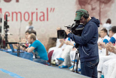 Cameraman filming Stock Photo