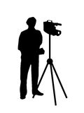 Cameraman filming silhouette. Vector illustration of a cameraman filming with his video camera as silhouette Royalty Free Stock Photos