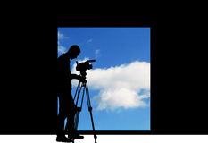 Cameraman filming sky Royalty Free Stock Photos