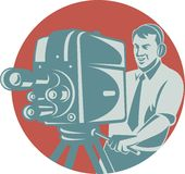 Cameraman Filming With Vintage TV Camera. Vector illustration of a cameraman movie director filming vintage tv camera set inside circle shape done in retro style Stock Images