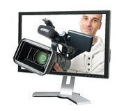 Cameraman In A Computer Monitor Stock Images