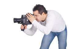 Cameraman isolated on white Stock Photography