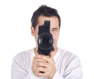 Cameraman isolated on white Stock Image