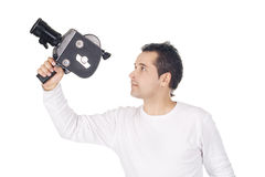 Cameraman isolated on white background Royalty Free Stock Photos