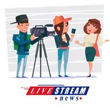Cameraman with journalist interview some people to reporting new. S. live broadcasting,, or live stream news concept -  illustration Royalty Free Stock Images
