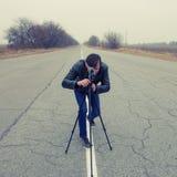 Cameraman making a film Stock Image