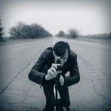 Cameraman making a film Stock Photos