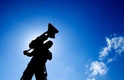 Cameraman met silhouet royalty-vrije stock fotografie