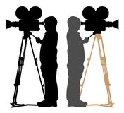 Cameraman and old camera, silhouette , vector Stock Images