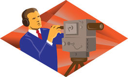 Cameraman Operator With Vintage Video Camera. Illustration of a cameraman operator with vintage video camera set inside diamond shape done in retro style Stock Images