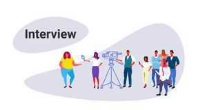 Cameraman recording female journalist reporter interviewing fat obese woman mass media announcement interview concept. Sketch doodle horizontal vector stock illustration