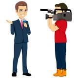 Cameraman And Reporter royalty-vrije illustratie