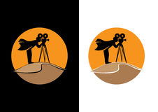 Cameraman on Sand Dunes. Vector image of Cameraman on sand dunes. film maker or photography Royalty Free Stock Photo