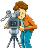 Cameraman Shoot The Cinema with Movie Camera Stock Image