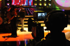 Camera Viewfinder, TV Studio, Live Show, Cameraman Silhouette Royalty Free Stock Photos