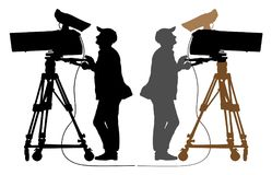 Cameraman silhouette, TV Camera. Stock Images