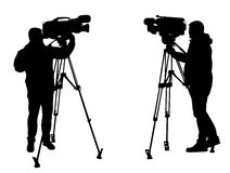 Cameraman silhouettes. Silhouettes of cameraman in action Royalty Free Stock Image