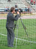 Cameraman on soccer. Videooperator on football Stock Image