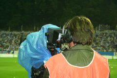 Cameraman on the stadium Royalty Free Stock Images