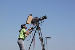 Cameraman. Television cameraman in open air Royalty Free Stock Images